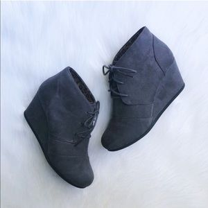 Charcoal Gray Wedge Ankle Booties